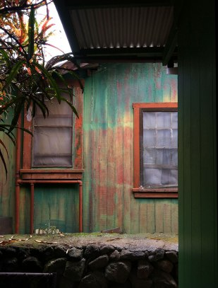 I admired the colors of the peeling paint on this house.